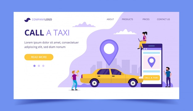 Call a taxi landing page.