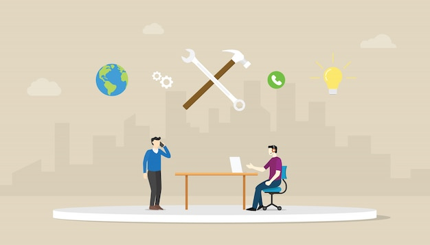 Call technical support with men two people calling with wrench icon and city background with modern flat style.