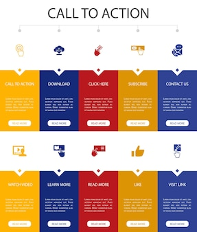 Инфографика с призывом к действию 10 вариантов дизайна пользовательского интерфейса. скачать, нажать здесь, подписаться, связаться с нами простые значки