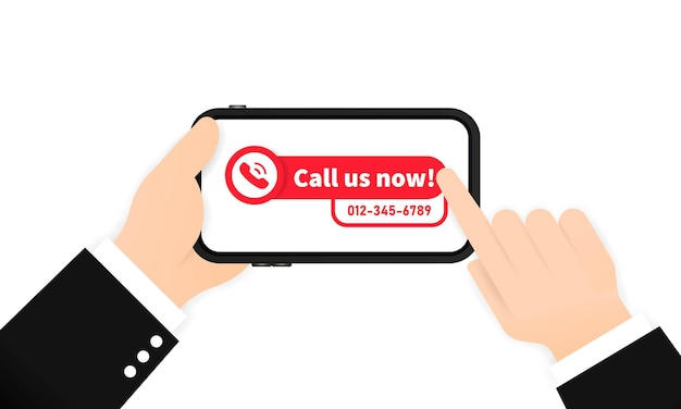 Call us now banner or template for phone number. vector