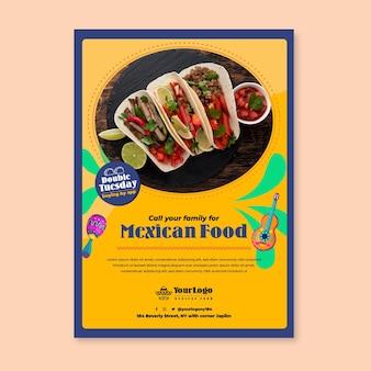 멕시코 음식 전단지 템플릿을 위해 가족에게 전화하십시오.