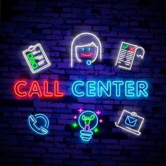 Call-центр оператора неоновый свет значок.