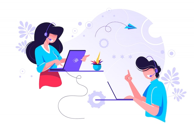 Call-центр, горячая линия иллюстрации для веб