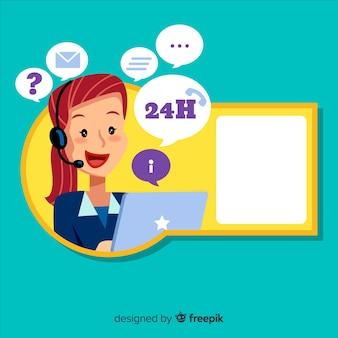 Концепция call-центра с женщиной