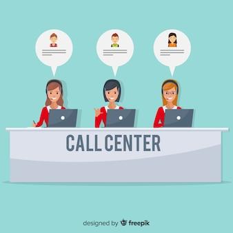 Женский агент агента call-центра