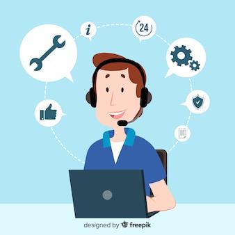 Дизайн агента call-центра в плоском стиле