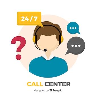 Современная концепция call-центра в плоском дизайне