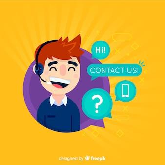 Call-центр телефонистка плоский дизайн