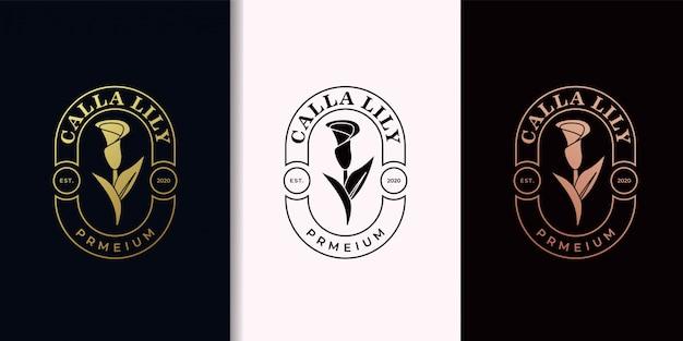 オランダカイウユリエレガントヴィンテージゴールドロゴデザイン