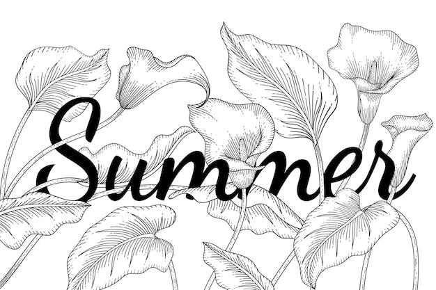 オランダカイウユリの花と葉は、白い背景の上のラインアートで描かれた植物図を手します。