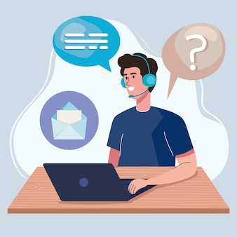 Callcenter worker and icons