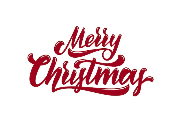 Calligraphic brush type lettering of merry christmas.