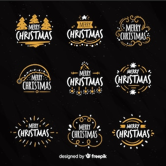 Calligraphic christmas badges collection