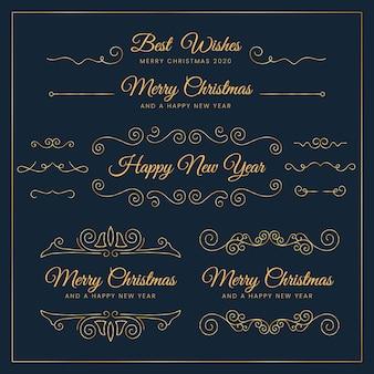 Set di decorazioni natalizie calligrafiche