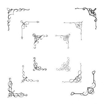Calligraphic corner frame divider element