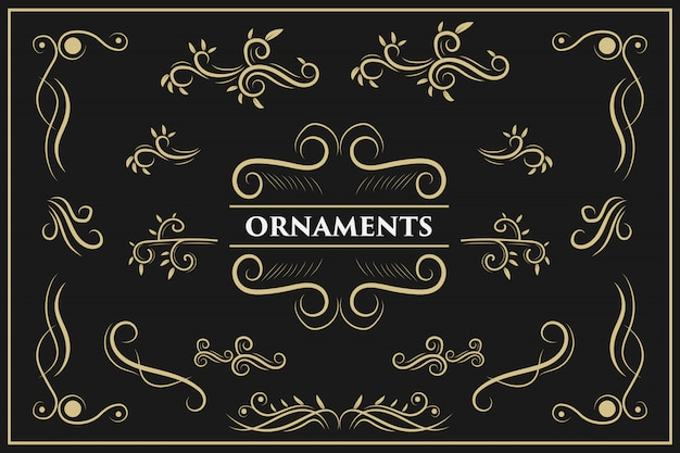 Calligraphic design elements vintage ornament swirls and scrolls ornate decorations   design elements