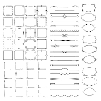 Calligraphic dividers, frames of different shapes.