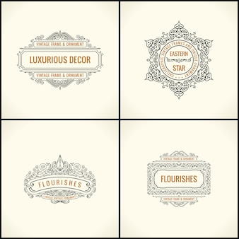 Calligraphic  elements and frames set