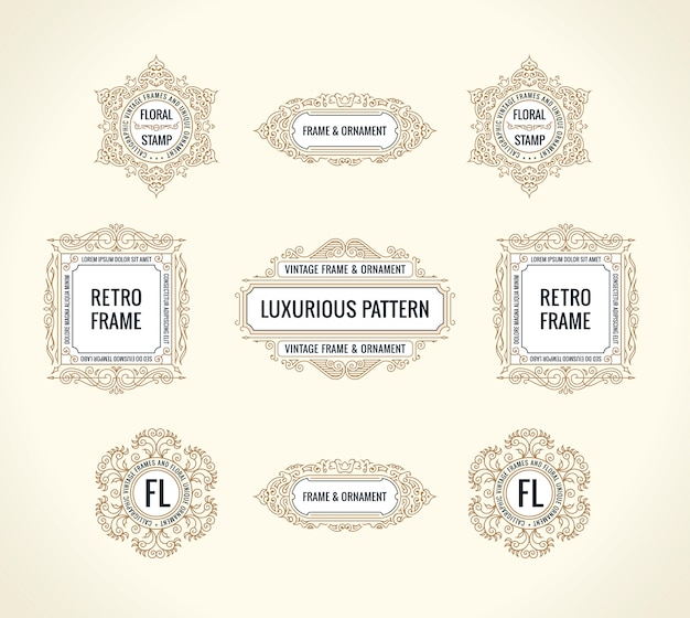 Calligraphic  elements and vintage frames set
