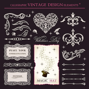 Calligraphic elements vintage magic patterns and ornaments for books