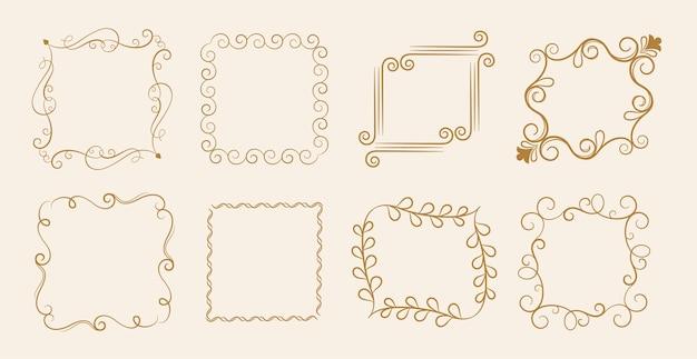 8つのカリグラフィ花ビンテージフレームセット