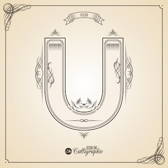 Calligraphic fotn with border, frame elements and invitation design symbols.