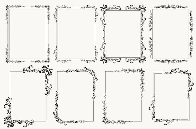 붓글씨 프레임 세트입니다. 테두리 모서리는 인증서, 꽃무늬 클래식 장식, 우아한 소용돌이 및 스크롤이 있는 빈티지 프레임을 위한 화려한 프레임입니다. 코너 번창 선조 요소. 벡터 템플릿