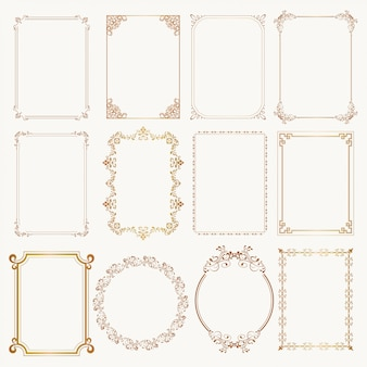 Calligraphic frame set otborders corners ornate frames.
