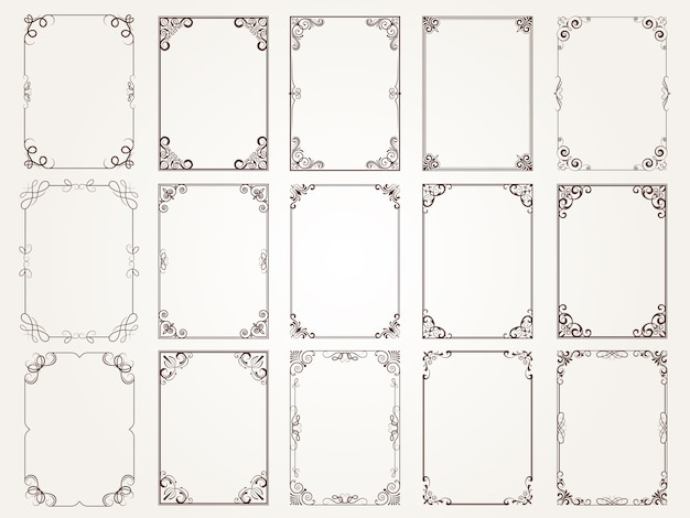 Calligraphic frames. borders corners ornate frames for certificate floral classic  s collection