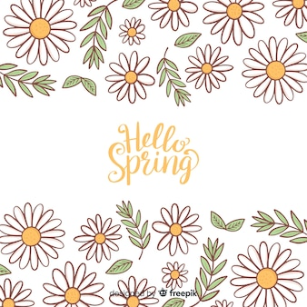 Calligraphic hand drawn floral spring background