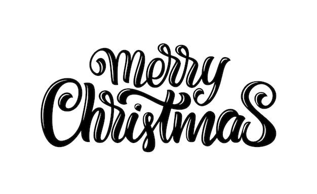 Calligraphic handwritten brush type lettering of merry christmas.