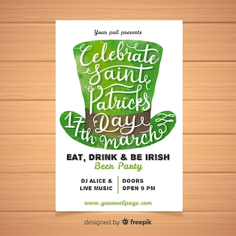 Calligraphic hat st patrick's party poster
