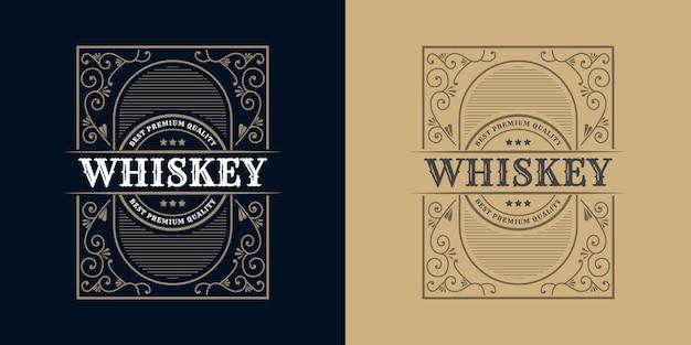 Каллиграфический орнамент логотипа винтажная роскошная рамка западная антикварная этикетка ручная гравировка ретро для крафта пиво крафт пиво вино виски напиток ликер бар магазин отель и ресторан