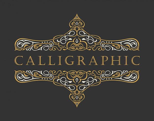Calligraphic luxury logo. emblem ornate decor elements