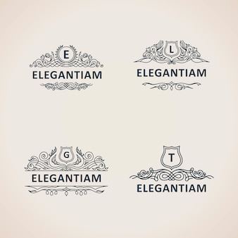 Calligraphic luxury vintage logos set
