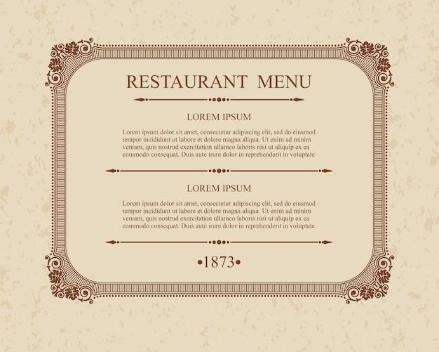 Каллиграфическое меню ресторана типографские элементы дизайна, каллиграфический изящный шаблон.