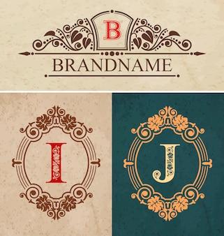 Calligraphic monogram letters i and j vintage design elements, brandname luxury vintage design, flourish calligraphy monogram,vector illustration