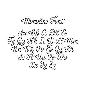 白い背景の上の書道のモノラインフォント文字。ベクトル手レタリングアルファベット。