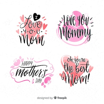Calligraphic mother's day badge collection