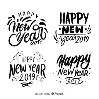Calligraphic new year badges collection