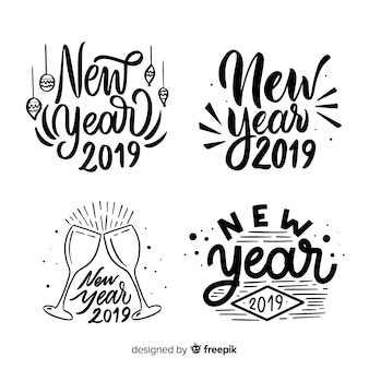 Calligraphic new year label collection