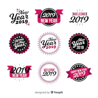 Calligraphic new year stickers collection