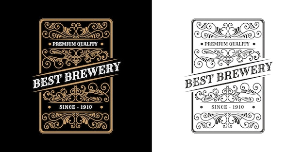 Calligraphic ornament vintage luxury border frame western antique logo label hand drawn engraving retro for craft beer craft beer wine whiskey beverage liquor bar shop hotel & restaurant