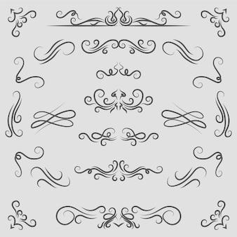 Collezione di elementi ornamentali calligrafici