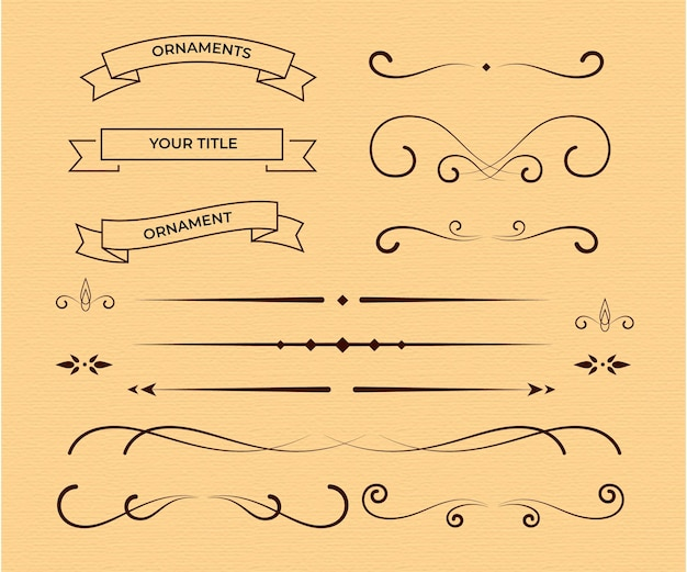 Calligraphic ornamental element pack