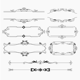Set di elementi ornamentali calligrafici