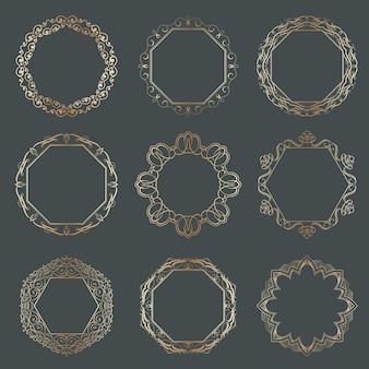 Collezione di cornici ornamentali calligrafiche