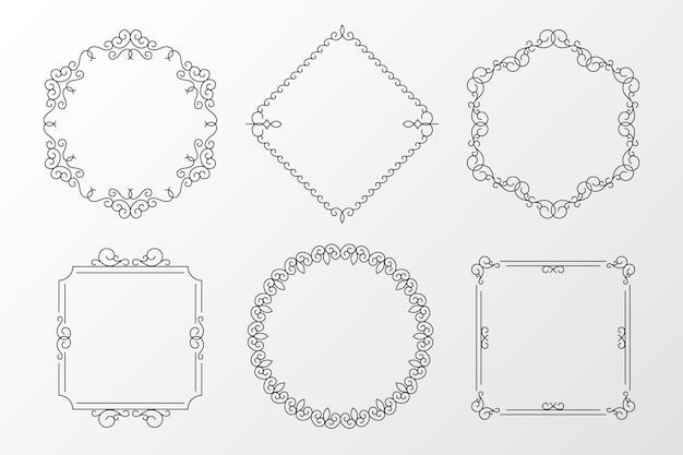 Calligraphic ornamental frame set