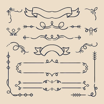 Calligraphic ornamental frames and elements