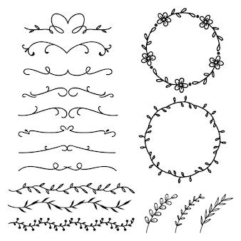 Separatore di linea ornamentale calligrafico e collezione circolare